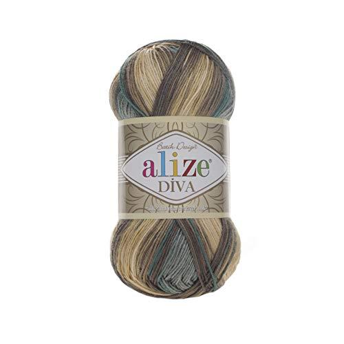 100% Microfiber Yarn Alize Diva Batik Silk Effect Thread Crochet Hand Knitting Turkish Yarn Art Lot of 4skn 400g 1532yd Color 3307