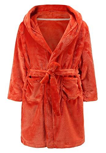 (Kids Girls Toddler Baby Cute Plush Bathrobe Hoodie Fleece Robe Sleepwear Color 2 7-8T)