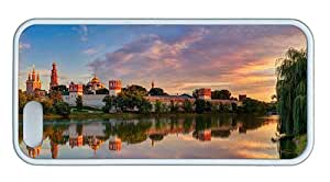 Cute iphone 5S spec covers Moscow Novodevichy Convent summer river trees dusk TPU White for Apple iPhone 5/5S