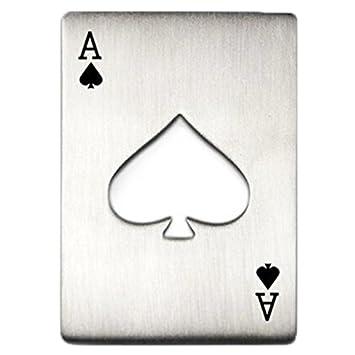Compra Diseno de Tarjeta Poker Abrebotellas - SODIAL(R)Abrelatas de Botella de Diseno de Tarjeta Poker Portatil (Plata) en Amazon.es