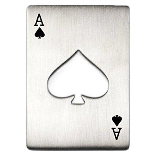 Diseno de Tarjeta Poker Abrebotellas - SODIAL(R)Abrelatas de Botella de Diseno de Tarjeta Poker Portatil (Plata) product image