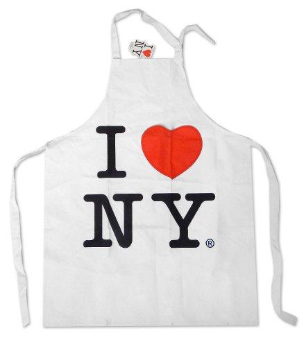 S & T World Products, Inc I Love Ny White Canvas Apron with Heart Pocket]()