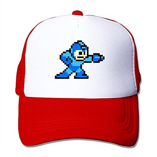 [Cool Mega Man Trucker Cap Baseball Hat (5 Colors) Red] (Megaman Hat)