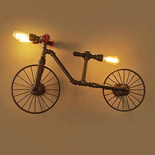 Cgjdzmd Wall Sconce Iron Craft Retro Bicycle Water Pipe Three Heads Wall Lamp Nordic Industrial Café Restaurant Bar Decorative Wall Light E27 Light Source Height: 58 cm