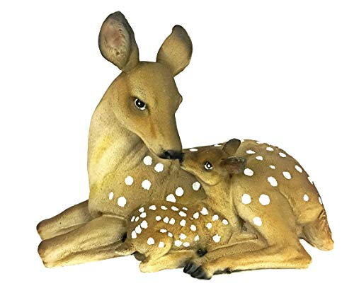 La bellaa 23493 Deer Mother and Baby Garden Sculpture Statues