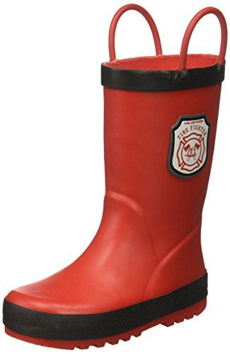 Carter's Boys' FIRE6-R Novelty Slipon Rain Boot, Red/Black, 8 M US Toddler