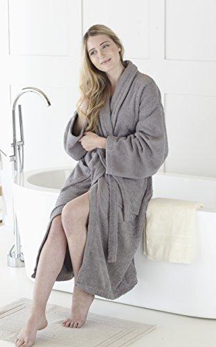 Gran nudo, 100% algodón egipcio 450 GSM albornoz cuello medio/grande,Blanco, M/L Med. Grey
