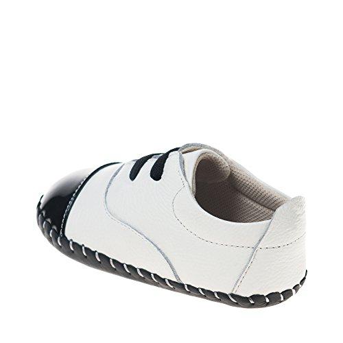 Little Blue Lamb - Zapatos primeros pasos de cuero para niña blanco - blanco