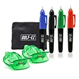 Golf-EZ Golf Ball Line Drawing Marking Alignment Tool Kit with 4pcs Marker Set and Carry Case