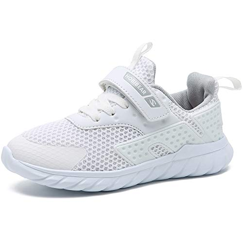 GUBARUN Girls White Running Shoes Breathable Boys Athletic Lightweight Sneakers(2, White)