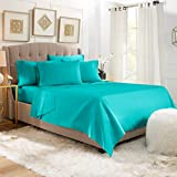 Empyrean Stronger Bed Sheet Set - Holds Longer 110 GSM Heavyweight - Luxury Soft Brushed Microfiber - 6 Piece Sheets with 4 Pillowcases - Tight Fit Straps Fitted Sheet - King Size, Teal (Blue/Green)