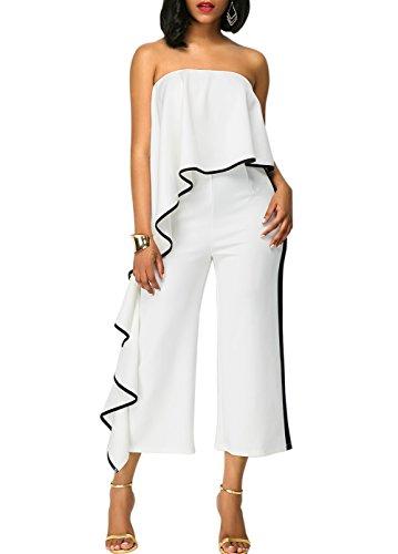 Cheap Lkous Women Off Shoulder Strapless Ruffle High Waisted Wide Leg Long Jumpsuits Romper supplier