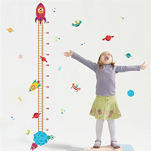 Suyunyuan DIY Outer space Planet Pilot Rocket home decal height measure wall sticker for kids room baby nursery growth chart Boy's gifts ()