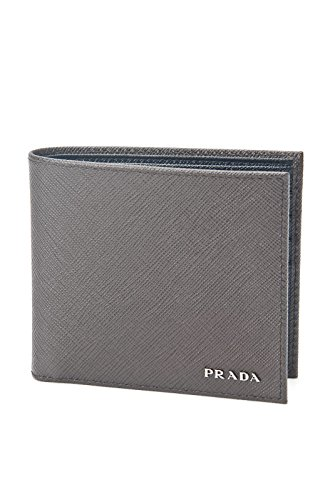 Prada Saffiano Cuir Leather Mens Caffe Brown and Black Bi-fold Wallet (Prada Long Wallet)