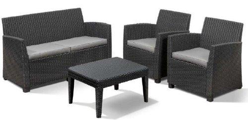 Allibert 212404 Lounge Set Corona  (2 Sessel, 1 Sofa, 1 Tisch), Rattanoptik, Kunststoff, graphit