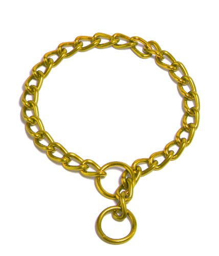 Platinum Pets Powder-Coated Dog Training Chain Collar, 24-Inch Long by 4mm Wide, Gold