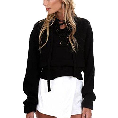 Pullover Damen V-Ausschnitt Langarm Strickpullover Frauen Volltonfarbe Kordelzug Oberteile Strickwaren Tops (XL, Schwarz)