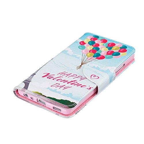 Trumpshop Smartphone Carcasa Funda Protección para Huawei P9 Lite + Linda Búho + PU Cuero Caja Protector Billetera con Cierre magnético Choque Absorción Happy Valentines Day