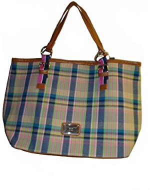 Women's Web Ring Tote, Large, Blue Plaid