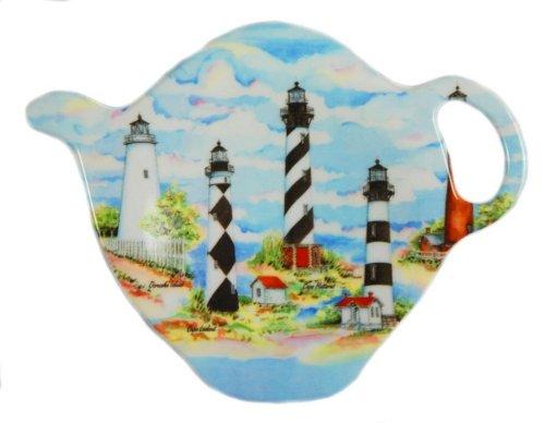 Tea Bag Holder or Caddy Melamine Carolina Lighthouse Design