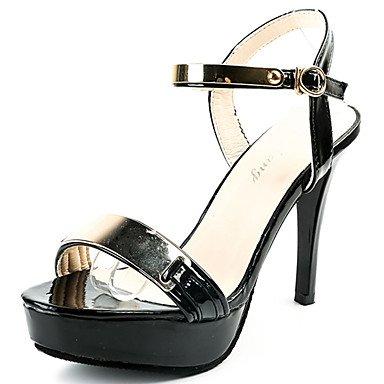 LvYuan Mujer Sandalias Confort PU Verano Confort Tacón Stiletto Negro Almendra 12 cms y Más almond