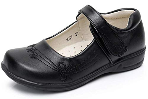 - Girls Dress Shoes Black Little Kid Patent Casual Dress Shoes Girl Uniform 6 Yr Slip on Ballet Leather Mary Jane 4 Girls School Shoes Size 12 M Elastic Strap Oxford Tap (Black 01F 30)