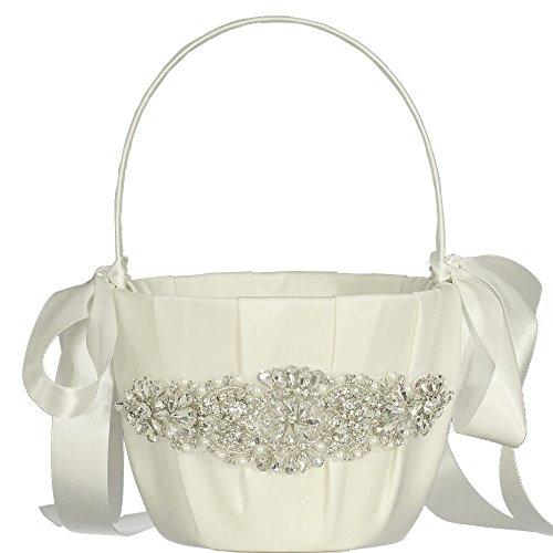 Basket Flower Rhinestone (LAPUDA Wedding Flower Basket, Flower Girl' Basket, Rhinestone Flower Basket (Ivory, Style HL0198))