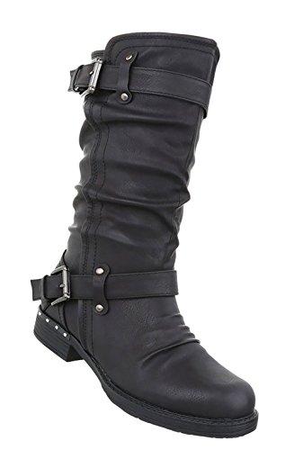 Stiefel Boots Used Damen Schuhe Schwarz Optik 76cBcw5HWq