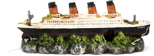(Aqua Della Shipwreck Titanic with Air Stone Decoration Ornament, 39 x 11 x 14cm)
