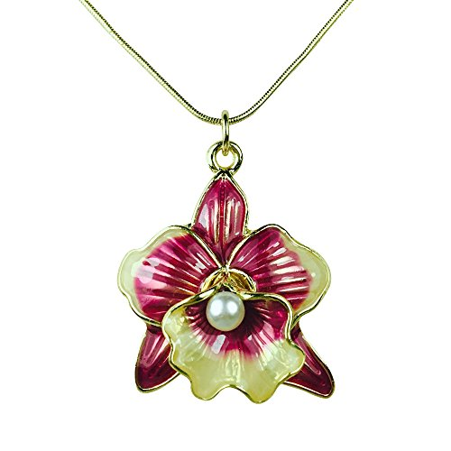 Les Bohémiens Iridescent Magenta Pink Enamel Glazed Orchid Flower Pendant Necklace for Women Box, Card & Envelope Included for Easy Gifting (Necklace Only)