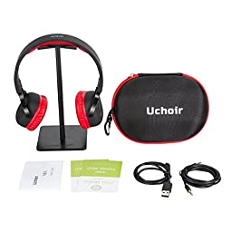 Uchoir On Ear Headphones, Wireless Bluetooth 4.0 Stereo Headsets, Over 40 Hours Playback Foldable Lightweight Headphones with Built-in Mic and Smart Pedometer for iOS and Android - Red