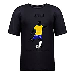 Custom Mens Cotton Short Sleeve Round Neck T-shirt,2014 Brazil FIFA World Cup teams black