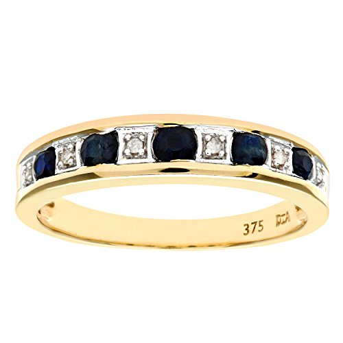 Naava Women's Eternity Ring, 9 ct Yellow Gold Diamond and Sapphire Ring,...