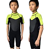 Realon 3mm Neoprene Kids Swim Suit Boys Surfing Wetsuit (Black Green, X-Large)