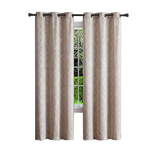 Warm Home Designs 1 Pair (2 Panels) of Ivory (Cream) Insulated Thermal Blackout Curtains with Embossed Textured Flower Pattern. Each Grommet Top Window Panel is 38
