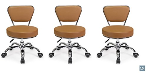 Set of 3 Dayton Pedicure Stool (Cappuccino) Pneumatic, Adjustable Height, Perfect for Nail Salon, Pedicure spa