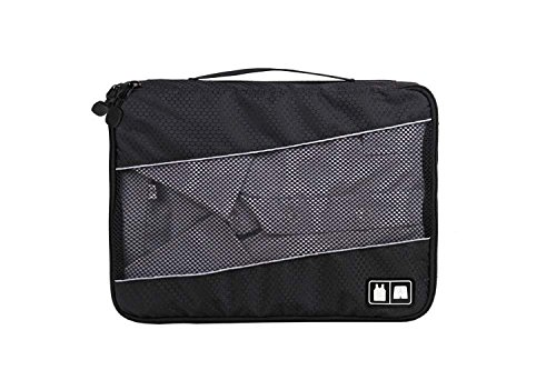 Litte Fish Luggage Packing Holder Packter Travel Luggage Organizer Bags Packing Cubes -3 Piece Mix Set: Large Cubes (13l×3.5w×9.5h Inch ) and Medium Cubes (11.5l×3w×8h Inch) and Small Cubes(9.7l×2.5w×7h Inch) of Same Color, Clothes Storage Bag for Lady Girl Men Women (black)