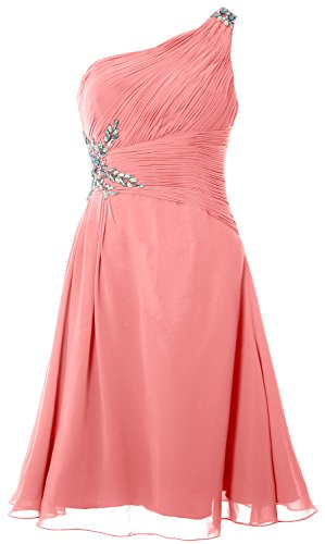 MACloth Women One Shoulder Cocktail Dress Short Wedding Party Formal Gown Blush Pink