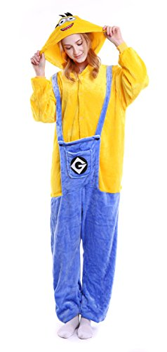 Dingwangyang Uinisex Adult Pajamas Onesie Kigurumi Cosplay Costumes Animal Jumpsuit Minion-XL