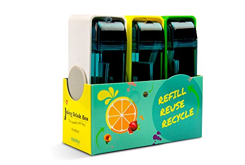 Asobu Juicy Drink Box the Ultimate Unbreakable Reusable 10oz Water Bottle for Kids Pack of Three (White/Yellow/Green)