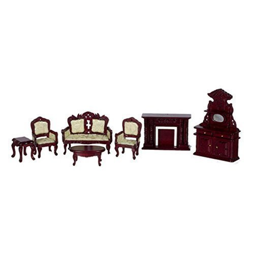 Town Square Miniatures White Mahogany Living Room Set - 7 Piece Mahogany Set Loveseat
