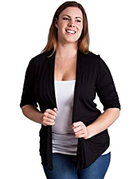 Ladies Ruched Short Sleeves Side Pockets Cardigan, Multiple Colors S-3X