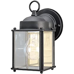 Westinghouse 6697200 One-Light Exterior Wall Lantern, Textured Black Finish on Steel with Clear Glass Panels