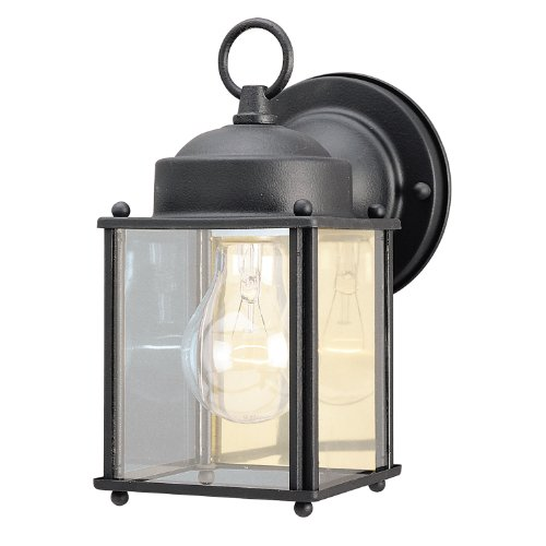 - Westinghouse Lighting 6697200 One-Light Exterior Wall Lantern, Textured Black Finish on Steel with Clear Glass Panels, 1 Pack,
