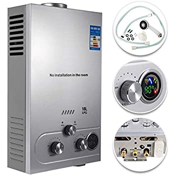 VEVOR Propane Hot Water Heater 18L Tankless Propane Water heater 4.8GPM Stainless Steel Liquefied Petroleum Gas Water Heater with Shower Head Kit Wall-Mounted Water Heater