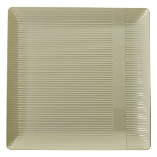 Exquisite Disposable-Clear-Plastic-Plates-Square Linear (40 Pack) Wedding Dinner Fancy Tableware Dishes (6.5 Inch., Cream) Single Size Set (Cream Tableware)