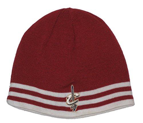 Cleveland Cavaliers NBA Red & White Triple Stripe Knit Beanie Hat