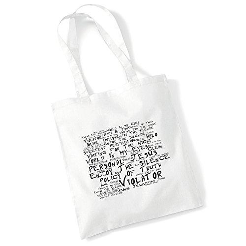 100% Baumwolltasche - DEPECHE MODE - Violator - Noir Paranoiac - Weiß 42 x 38 cm Tragetasche Musik Song Lyrisch Album Kunstdruck Plakat Wiederverwendbare Tote Strand Festival Einkaufend Tasche für Leb