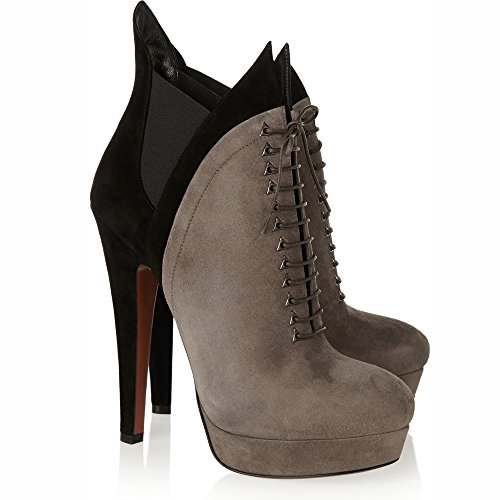 Pumps Women Size Dress Grey Grey 10 Boots Shoes up Platform Ankle Lace rY7Fwrq