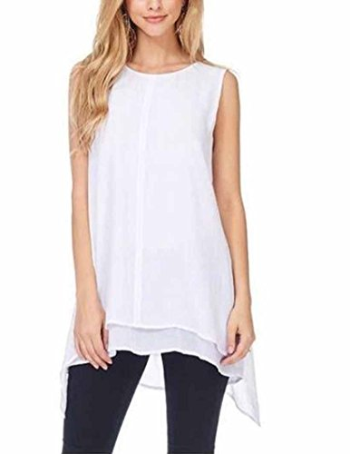 (Fever Womens Double Layer Sleeveless Blouse (X-Large, White))